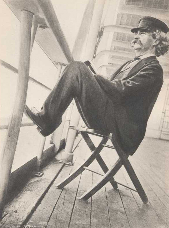 Picture of Samuel Clemens aka Mark Twain in 1966 reclining on a deck chair during his travels.