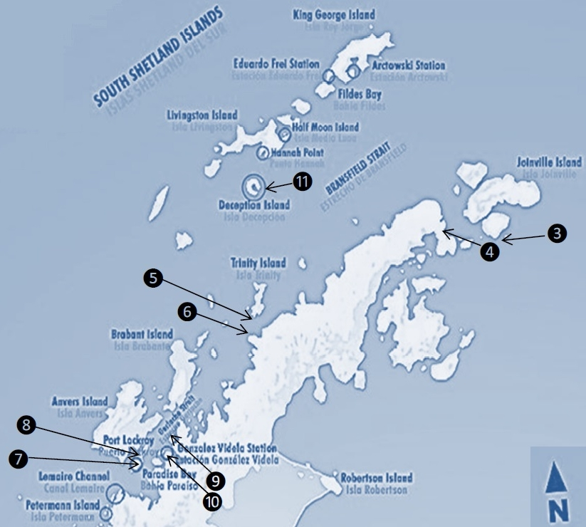 Map of the nine landings in Antarctica by the Silver explorer passengers in December 2018