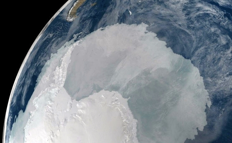 NASA shot of Antarctica and Tierra del Fuego archipelago
