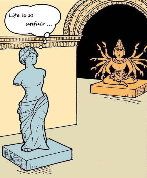 cartoon Venus de Milo jealous of statue of Kali/Mahakali