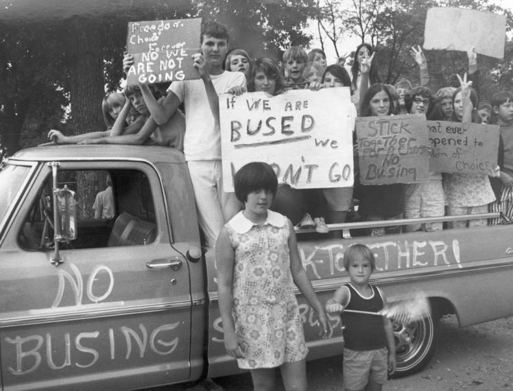 white flight and the protest against school busing in the 1970's