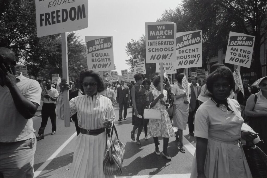 Civil rights march on Washington, D.C. Film negative by photographer Warren K. Leffler, 1963.